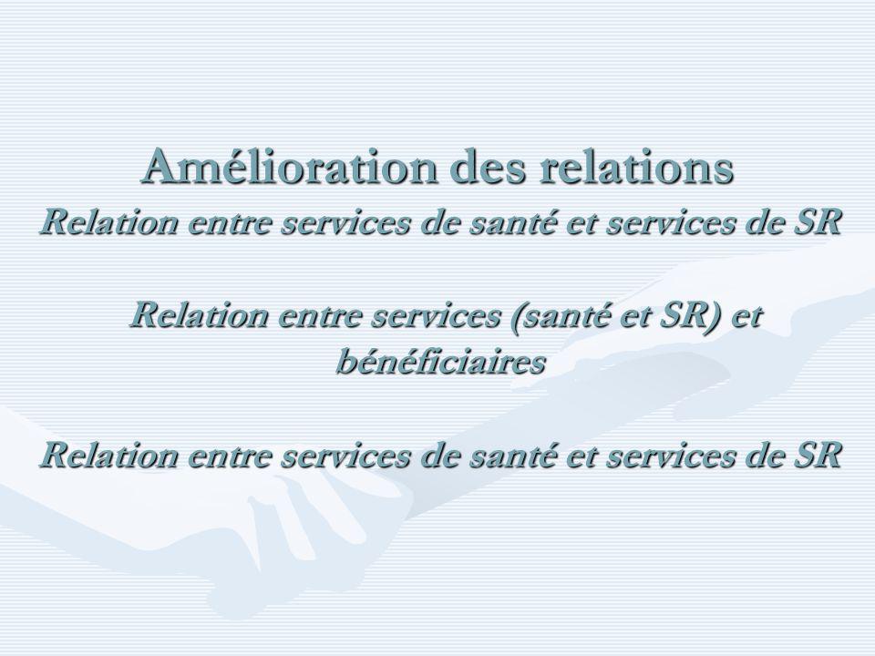 Amélioration des relations Relation entre services de santé et services de SR Relation entre services (santé et SR) et bénéficiaires Relation entre services de santé et services de SR