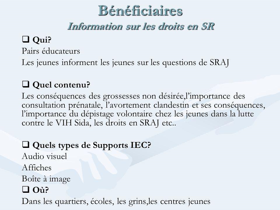 Bénéficiaires Information sur les droits en SR Qui.