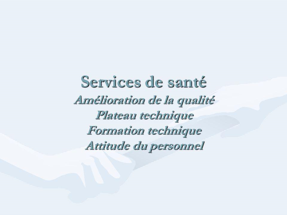 Services de santé Amélioration de la qualité Plateau technique Formation technique Attitude du personnel