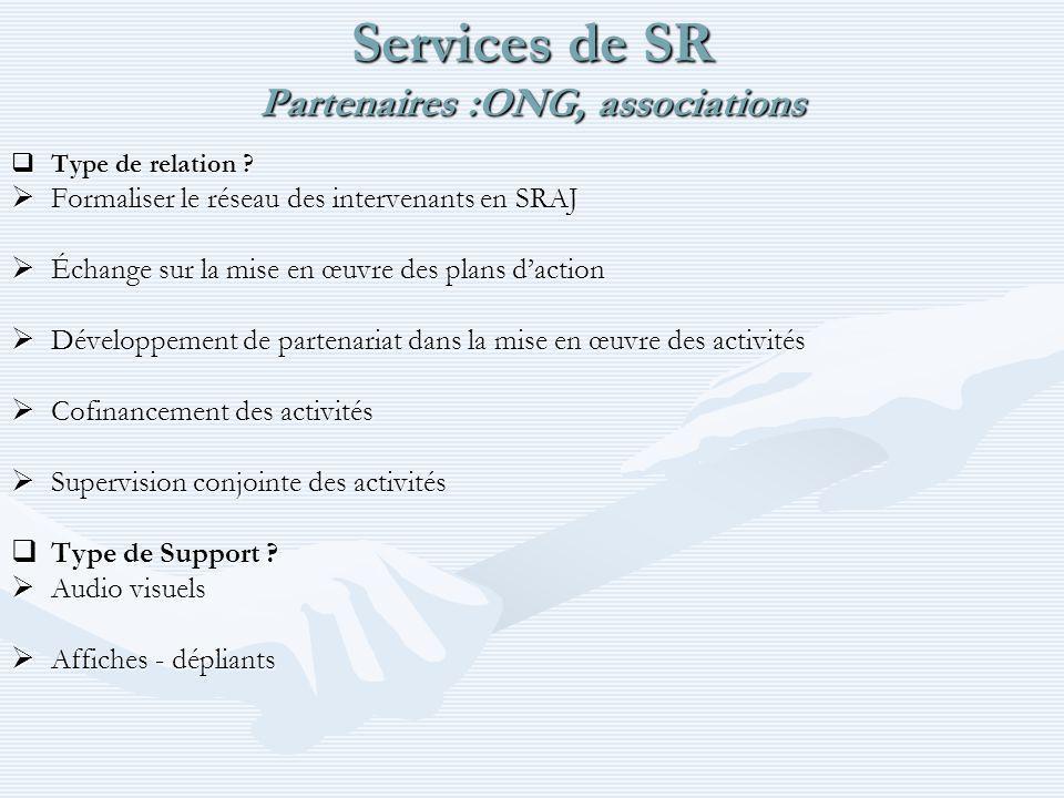 Services de SR Partenaires :ONG, associations Type de relation .