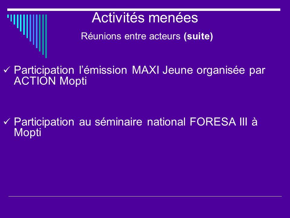 Activités menées Réunions entre acteurs (suite) Participation lémission MAXI Jeune organisée par ACTION Mopti Participation au séminaire national FORESA III à Mopti