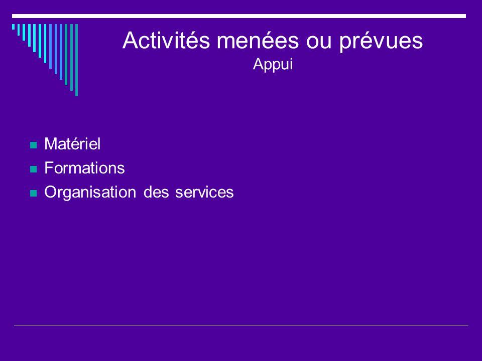 Activités menées ou prévues Appui Matériel Formations Organisation des services