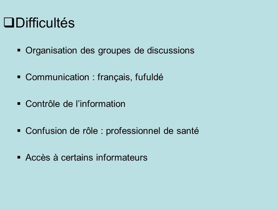 Difficultés Organisation des groupes de discussions Communication : français, fufuldé Contrôle de linformation Confusion de rôle : professionnel de santé Accès à certains informateurs