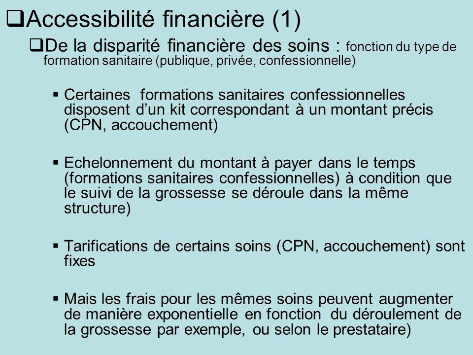 Accessibilité financière (1) De la disparité financière des soins : fonction du type de formation sanitaire (publique, privée, confessionnelle) Certai