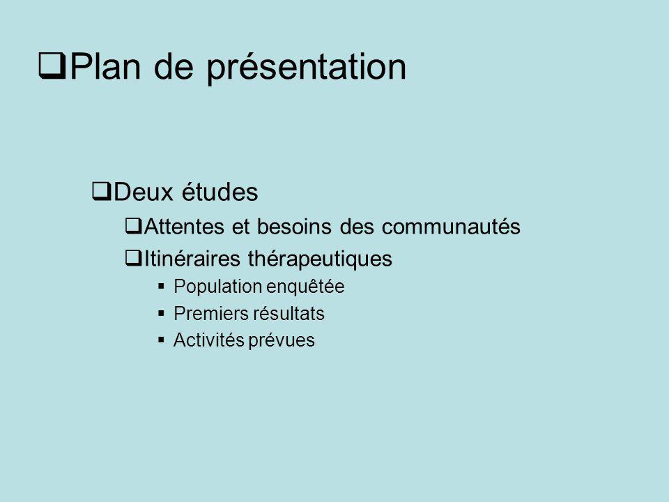 Plan de présentation Deux études Attentes et besoins des communautés Itinéraires thérapeutiques Population enquêtée Premiers résultats Activités prévues