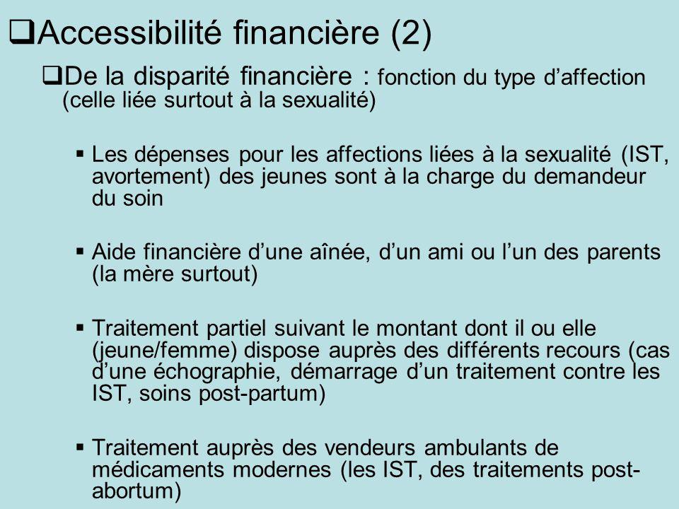 Accessibilité financière (2) De la disparité financière : fonction du type daffection (celle liée surtout à la sexualité) Les dépenses pour les affect