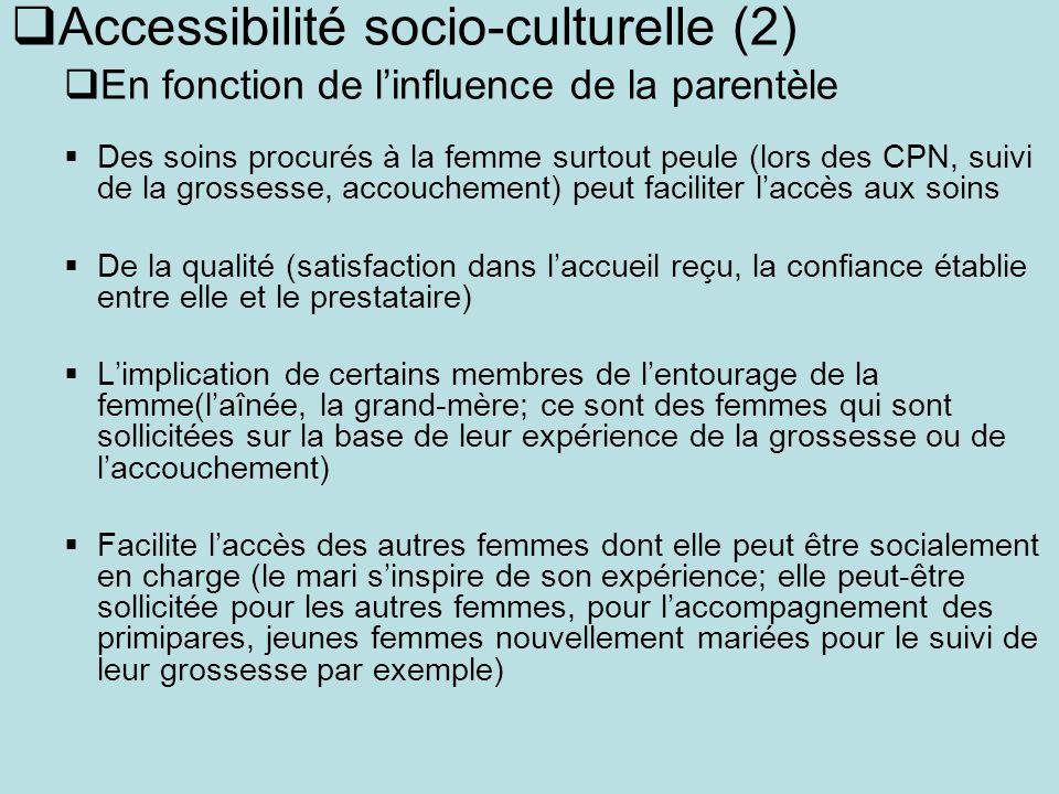 Accessibilité socio-culturelle (2) En fonction de linfluence de la parentèle Des soins procurés à la femme surtout peule (lors des CPN, suivi de la gr