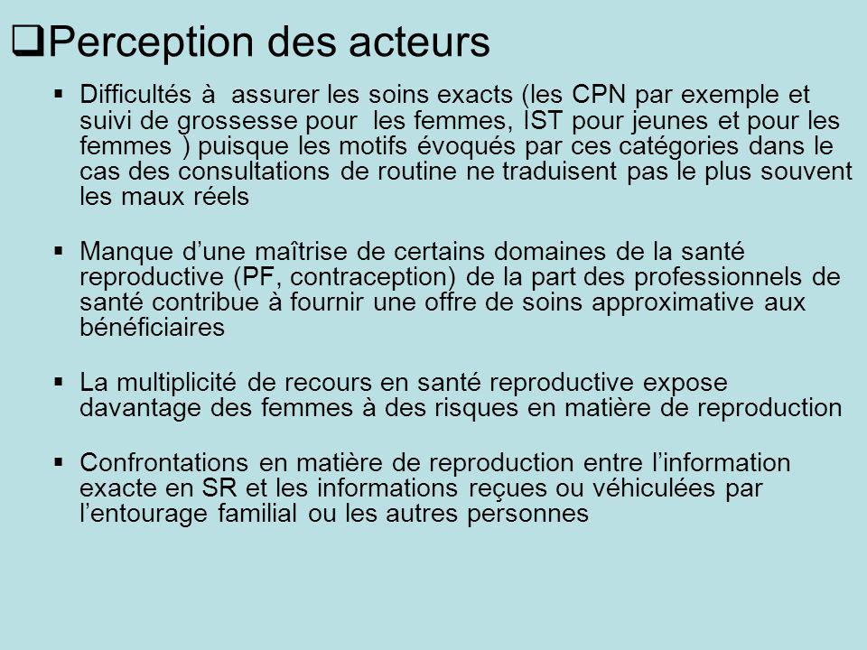Perception des acteurs Difficultés à assurer les soins exacts (les CPN par exemple et suivi de grossesse pour les femmes, IST pour jeunes et pour les