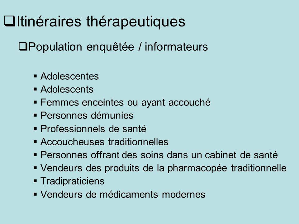 Itinéraires thérapeutiques Population enquêtée / informateurs Adolescentes Adolescents Femmes enceintes ou ayant accouché Personnes démunies Professio