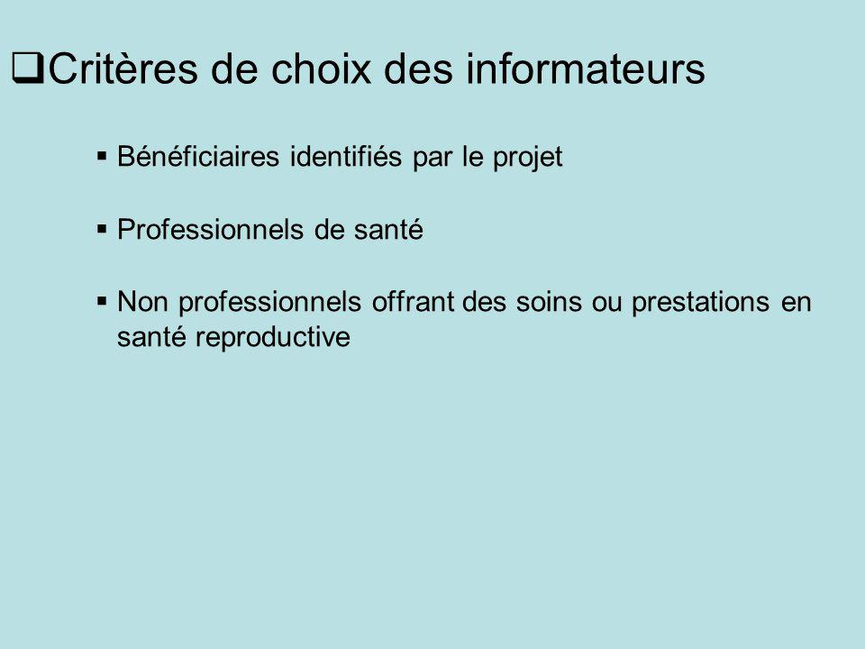 Critères de choix des informateurs Bénéficiaires identifiés par le projet Professionnels de santé Non professionnels offrant des soins ou prestations en santé reproductive