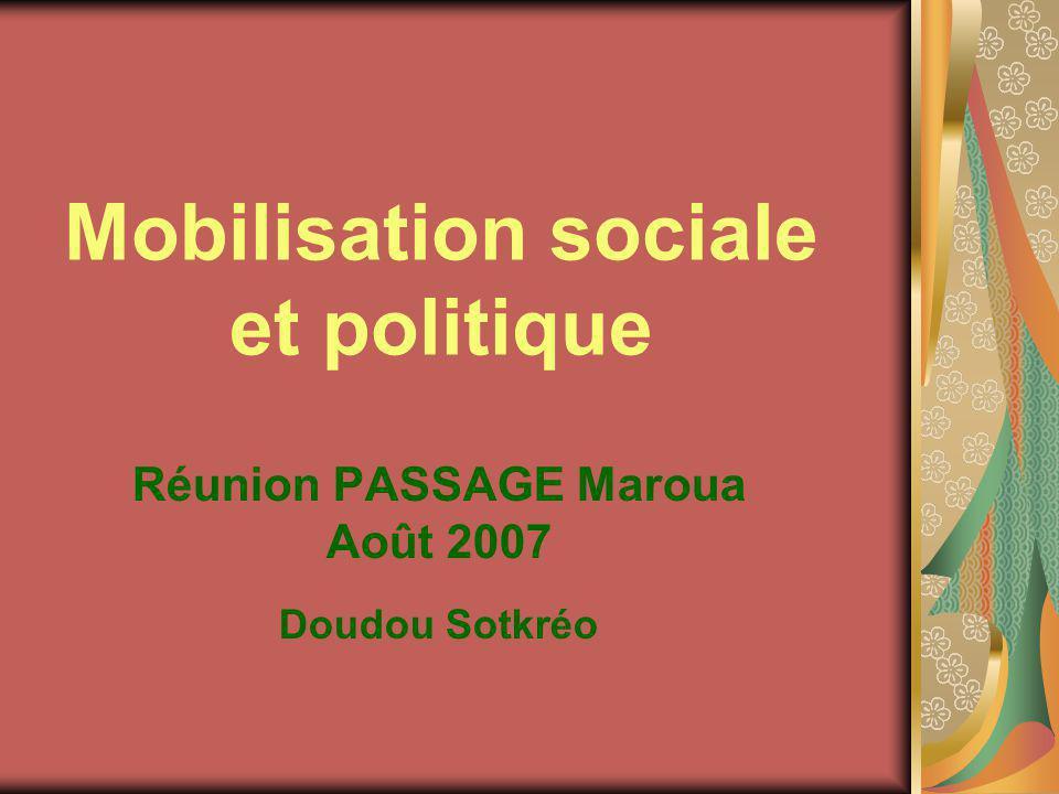 Mobilisation sociale et politique Réunion PASSAGE Maroua Août 2007 Doudou Sotkréo