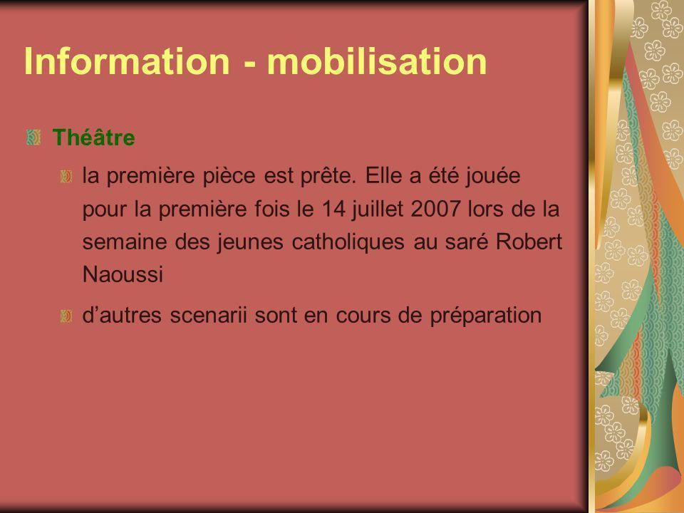 Information - mobilisation Théâtre la première pièce est prête.
