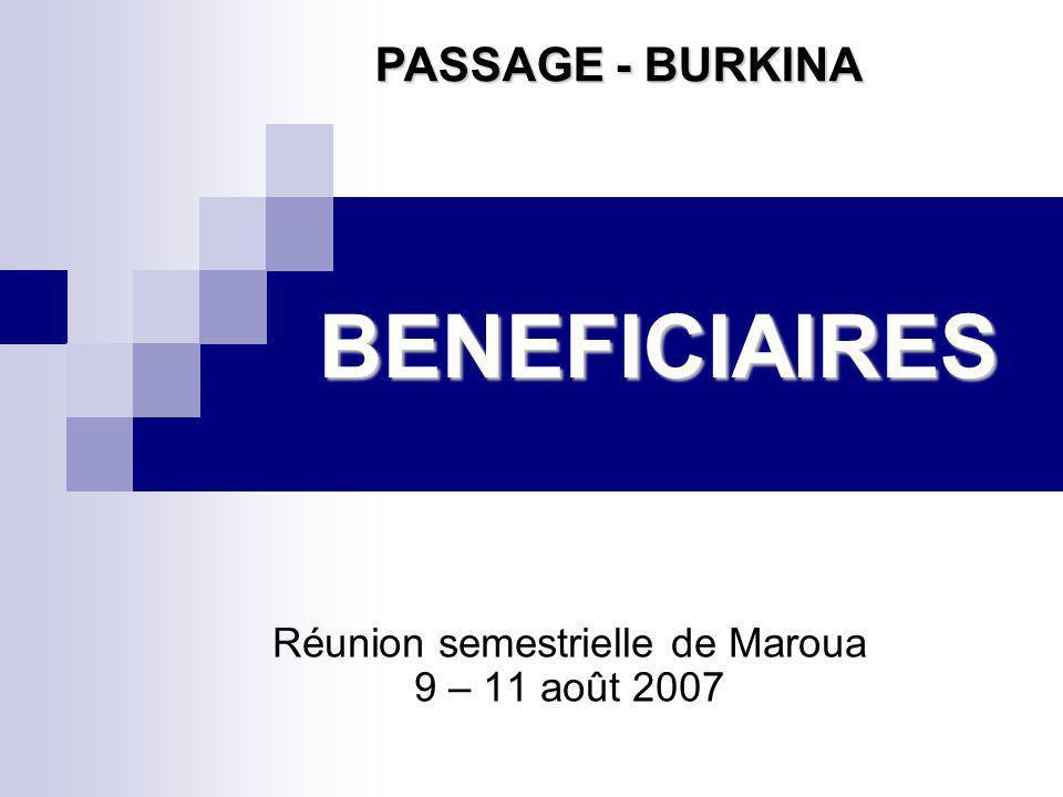 BENEFICIAIRES Réunion semestrielle de Maroua 9 – 11 août 2007 PASSAGE - BURKINA