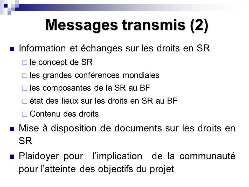 Messages transmis (2) Information et échanges sur les droits en SR le concept de SR les grandes conférences mondiales les composantes de la SR au BF é