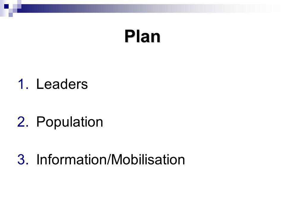 Plan 1.Leaders 2.Population 3.Information/Mobilisation