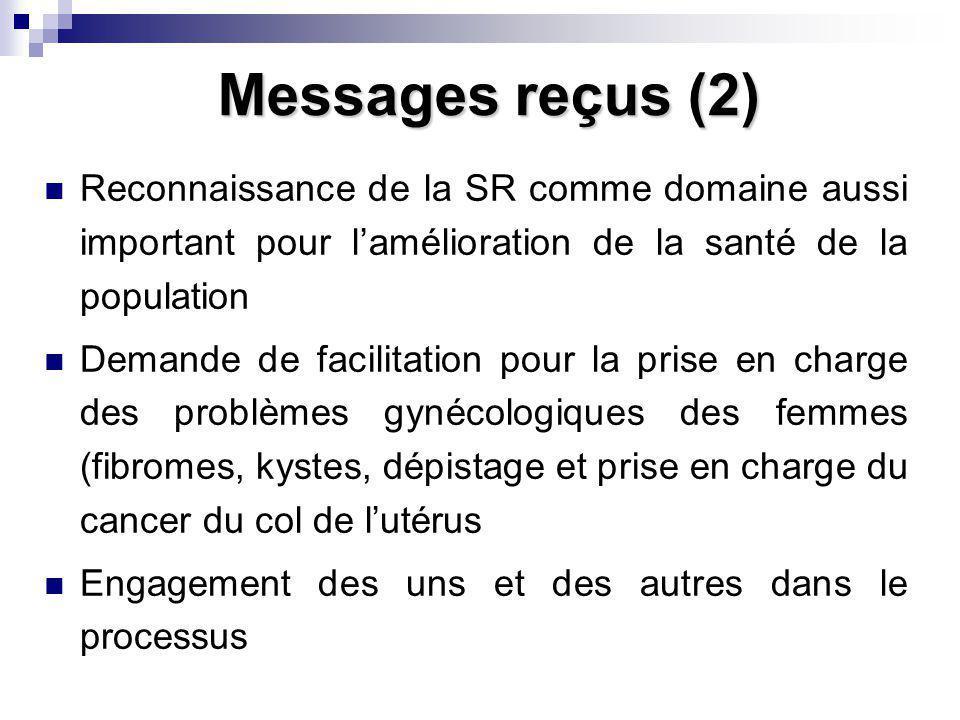 Messages reçus (2) Reconnaissance de la SR comme domaine aussi important pour lamélioration de la santé de la population Demande de facilitation pour