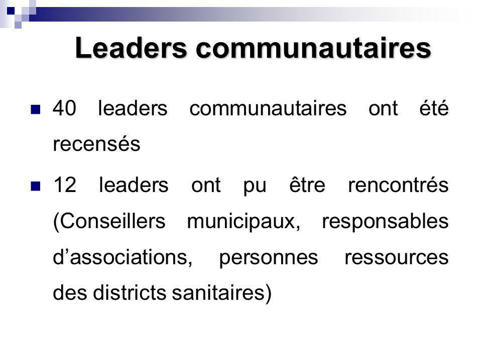 Leaders communautaires 40 leaders communautaires ont été recensés 12 leaders ont pu être rencontrés (Conseillers municipaux, responsables dassociations, personnes ressources des districts sanitaires)