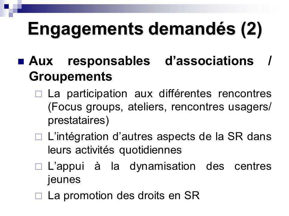 Engagements demandés (2) Aux responsables dassociations / Groupements La participation aux différentes rencontres (Focus groups, ateliers, rencontres