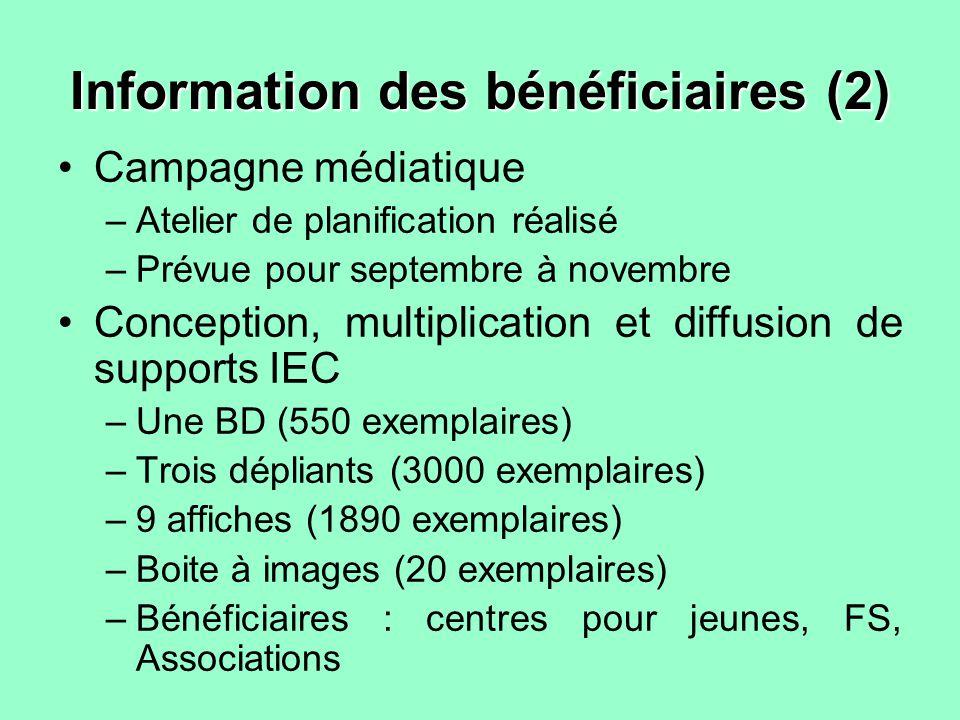 Information des bénéficiaires (2) Campagne médiatique –Atelier de planification réalisé –Prévue pour septembre à novembre Conception, multiplication e