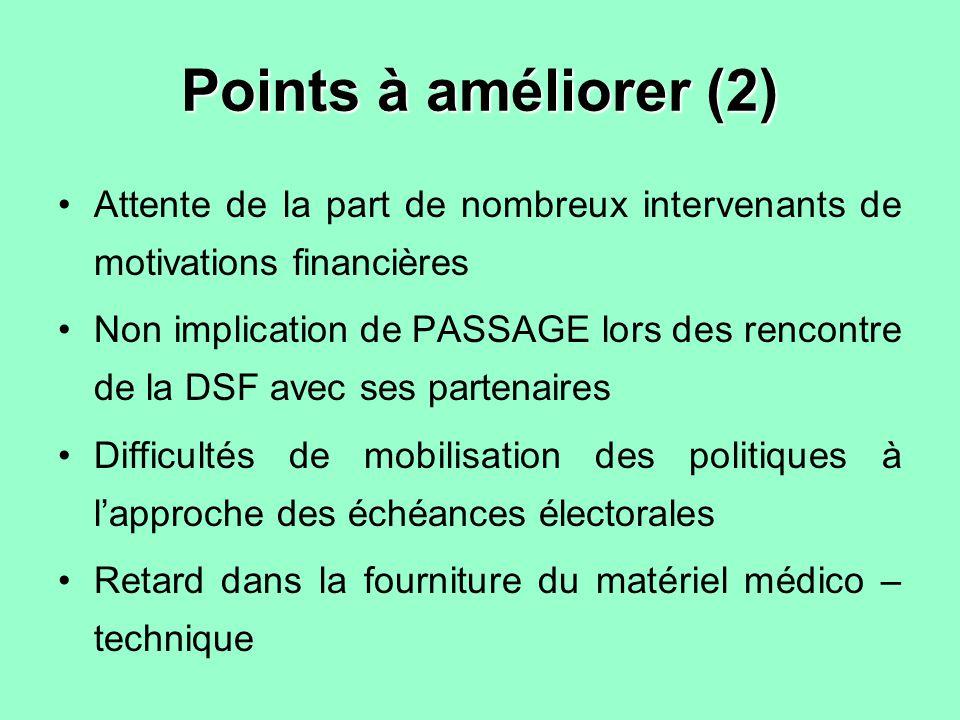Points à améliorer (2) Attente de la part de nombreux intervenants de motivations financières Non implication de PASSAGE lors des rencontre de la DSF