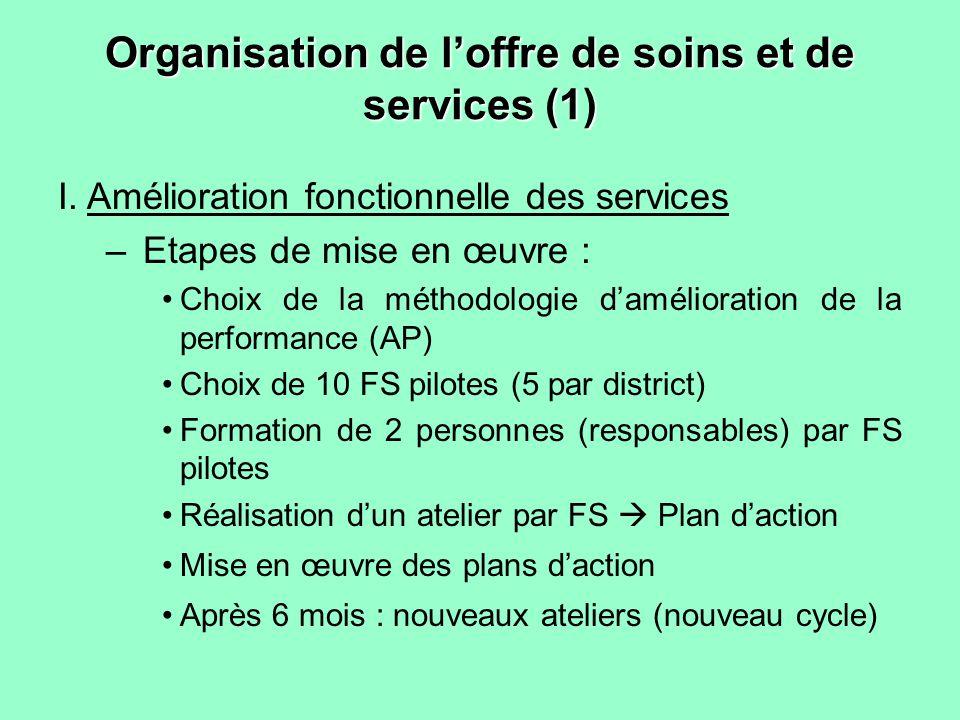 Organisation de loffre de soins et de services (1) I.Amélioration fonctionnelle des services –Etapes de mise en œuvre : Choix de la méthodologie damél