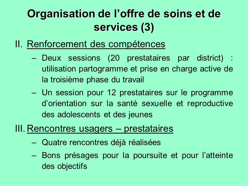 Organisation de loffre de soins et de services (3) II.Renforcement des compétences –Deux sessions (20 prestataires par district) : utilisation partogr
