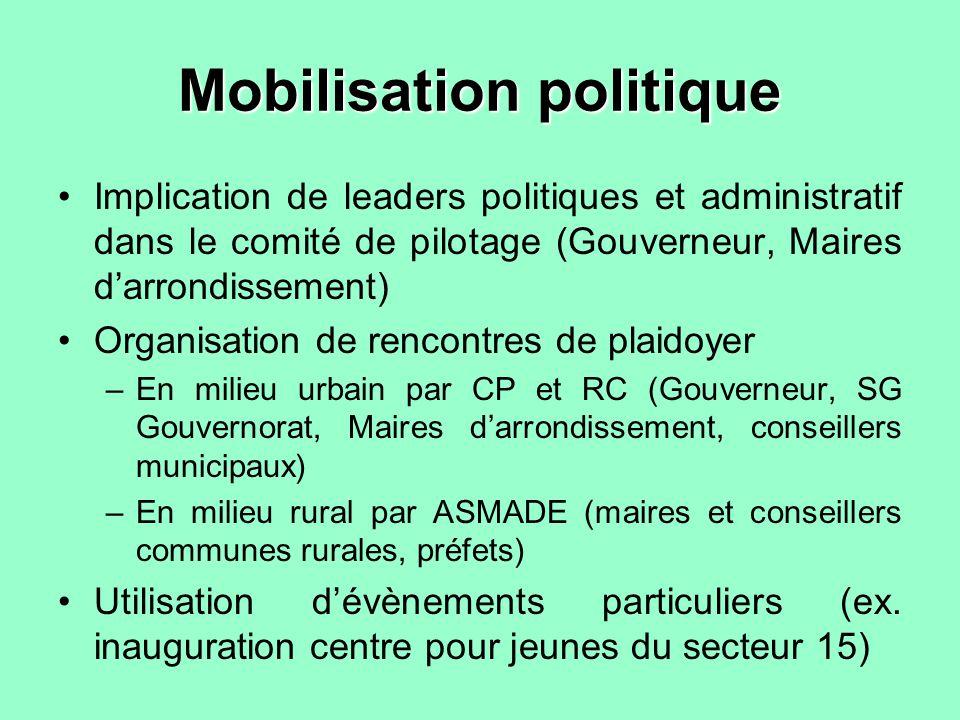 Mobilisation politique Implication de leaders politiques et administratif dans le comité de pilotage (Gouverneur, Maires darrondissement) Organisation
