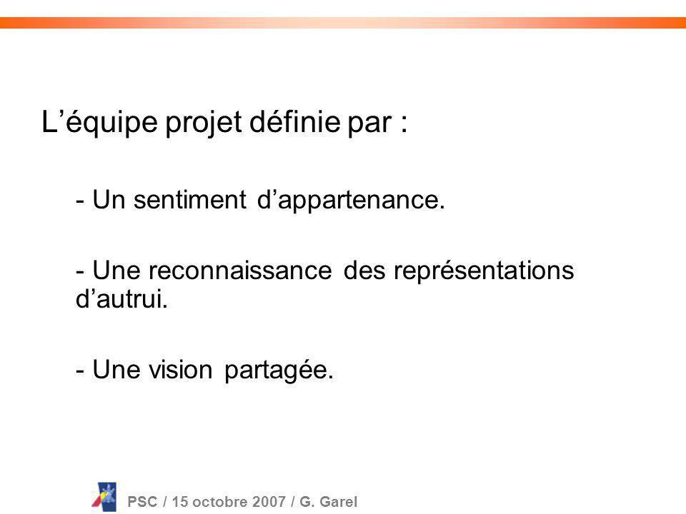 PSC / 15 octobre 2007 / G. Garel Dans lentreprise, dans la vie sociale ou associative, on travaille en équipe.