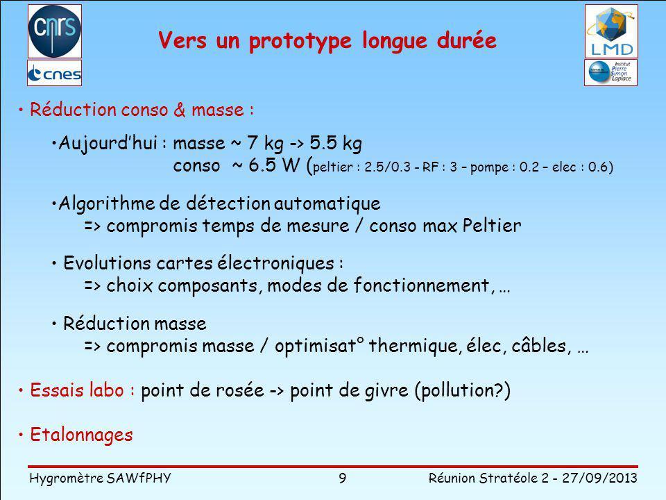 Hygromètre SAWfPHY Réunion Stratéole 2 - 27/09/2013 9 Vers un prototype longue durée Réduction conso & masse : Aujourdhui : masse ~ 7 kg -> 5.5 kg conso ~ 6.5 W ( peltier : 2.5/0.3 - RF : 3 – pompe : 0.2 – elec : 0.6) Algorithme de détection automatique => compromis temps de mesure / conso max Peltier Evolutions cartes électroniques : => choix composants, modes de fonctionnement, … Réduction masse => compromis masse / optimisat° thermique, élec, câbles, … Essais labo : point de rosée -> point de givre (pollution?) Etalonnages
