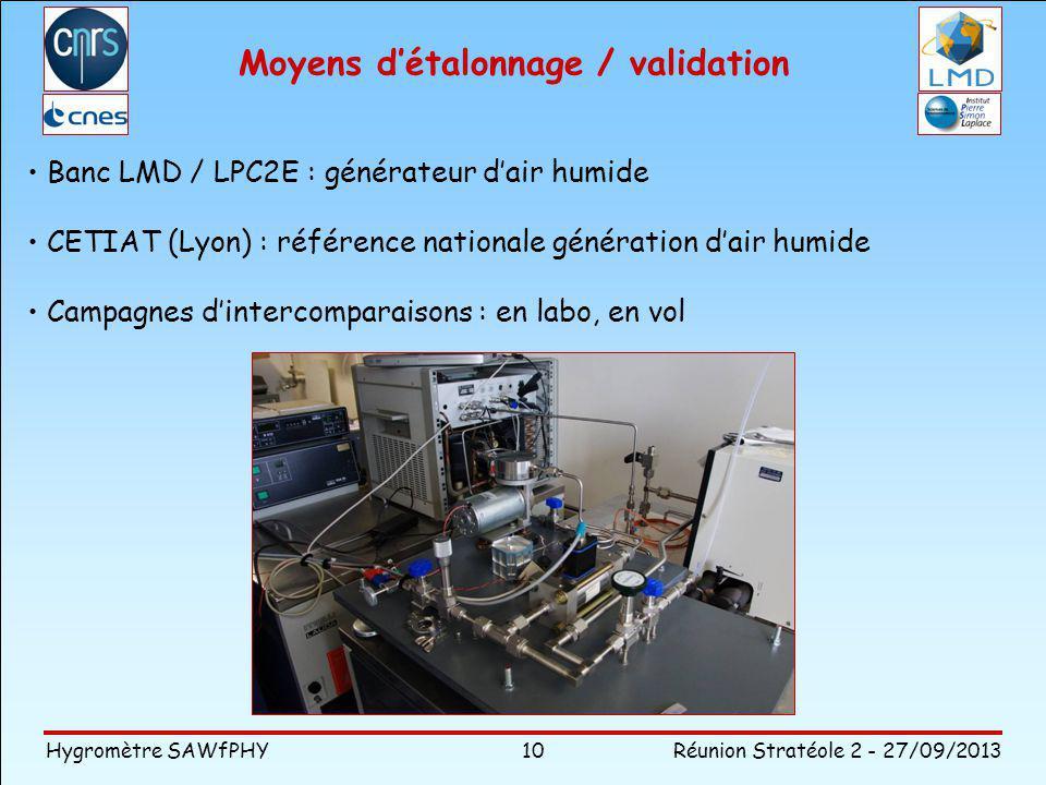 Hygromètre SAWfPHY Réunion Stratéole 2 - 27/09/2013 Moyens détalonnage / validation 10 Banc LMD / LPC2E : générateur dair humide CETIAT (Lyon) : référence nationale génération dair humide Campagnes dintercomparaisons : en labo, en vol