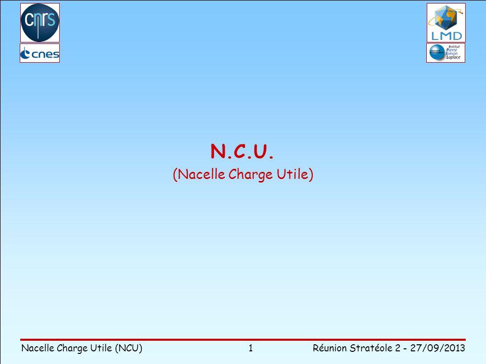 Nacelle Charge Utile (NCU)Réunion Stratéole 2 - 27/09/2013 Contexte Besoin Contraintes Architecture Segment vol Logique de développement Questions Plan de la présentation