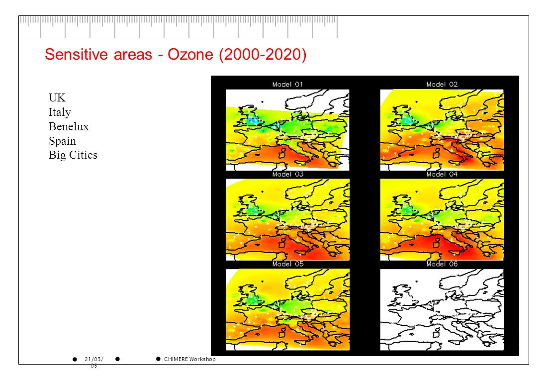 21/03/ 05 CHIMERE Workshop Sensitive areas - Ozone (2000-2020) UK Italy Benelux Spain Big Cities