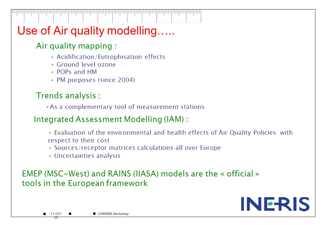 21/03/ 05 CHIMERE Workshop Use of Air quality modelling…..