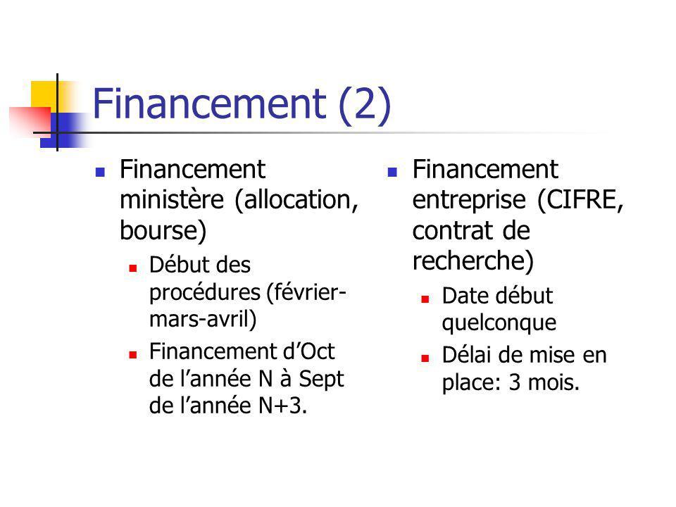 Financement (2) Financement ministère (allocation, bourse) Début des procédures (février- mars-avril) Financement dOct de lannée N à Sept de lannée N+3.