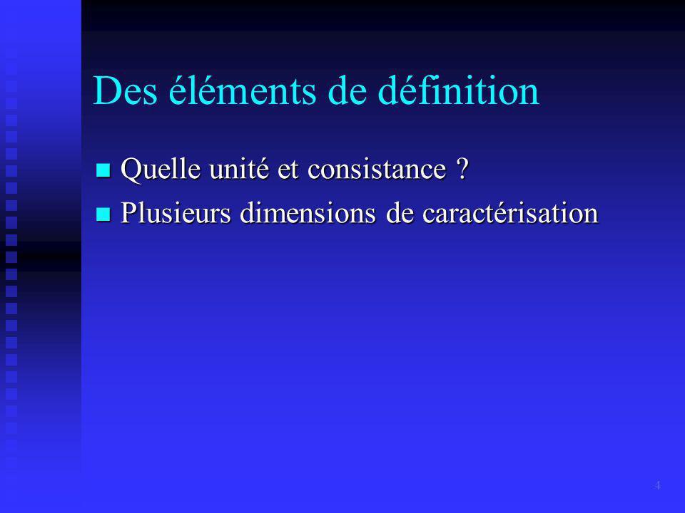 4 Des éléments de définition Quelle unité et consistance .