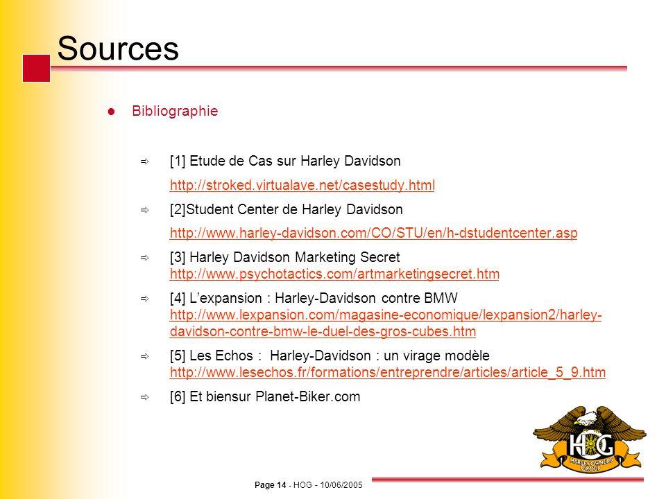 Page 14 - HOG - 10/06/2005 Sources Bibliographie [1] Etude de Cas sur Harley Davidson http://stroked.virtualave.net/casestudy.html [2]Student Center d