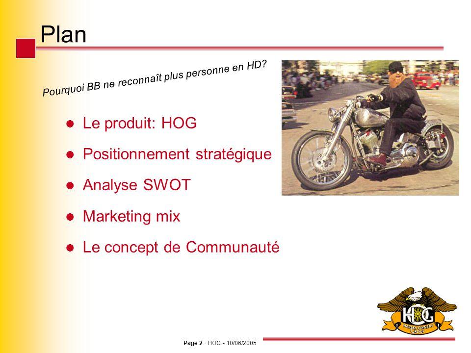 Page 2 - HOG - 10/06/2005 Plan Le produit: HOG Positionnement stratégique Analyse SWOT Marketing mix Le concept de Communauté Pourquoi BB ne reconnaît