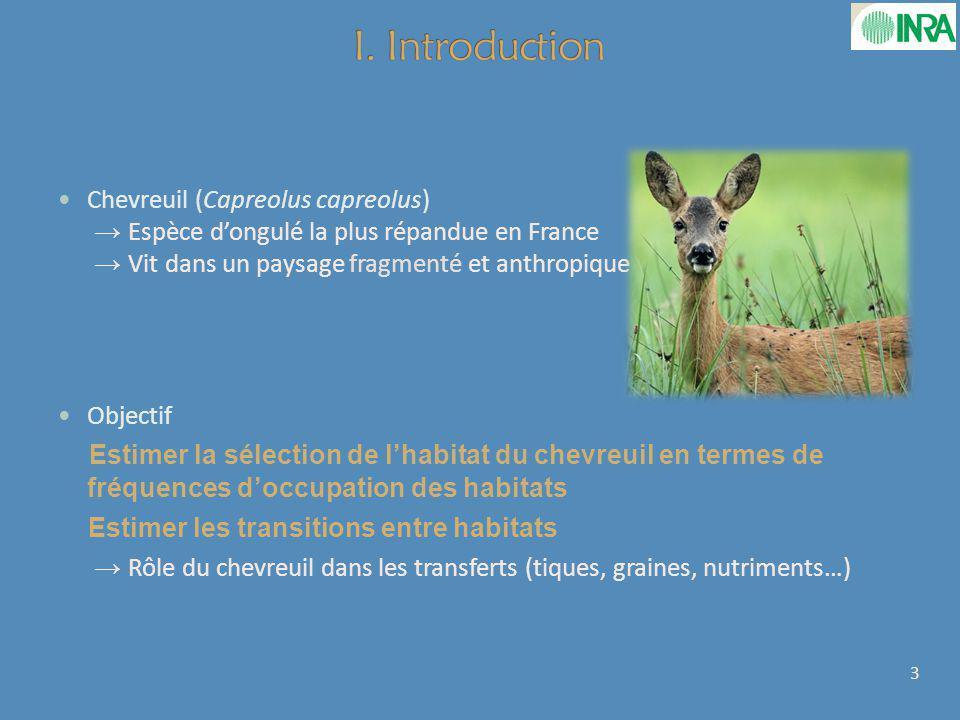 Chevreuil (Capreolus capreolus) Espèce dongulé la plus répandue en France Vit dans un paysage fragmenté et anthropique Objectif Estimer la sélection de lhabitat du chevreuil en termes de fréquences doccupation des habitats Estimer les transitions entre habitats Rôle du chevreuil dans les transferts (tiques, graines, nutriments…) 3