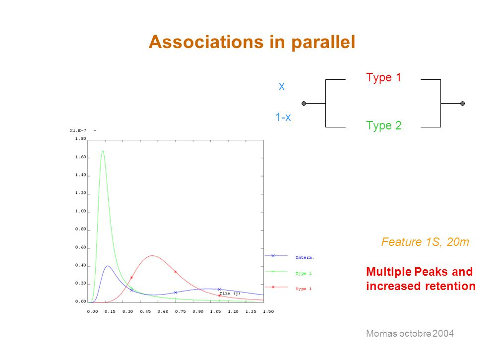 Momas octobre 2004 Associations in parallel Type 1 Type 2 x 1-x Feature 1S, 20m Multiple Peaks and increased retention