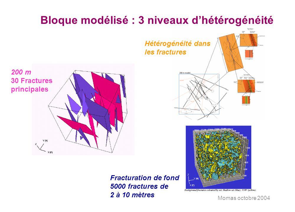 Momas octobre 2004 Bloque modélisé : 3 niveaux dhétérogénéité 200 m 30 Fractures principales Hétérogénéité dans les fractures Fracturation de fond 500