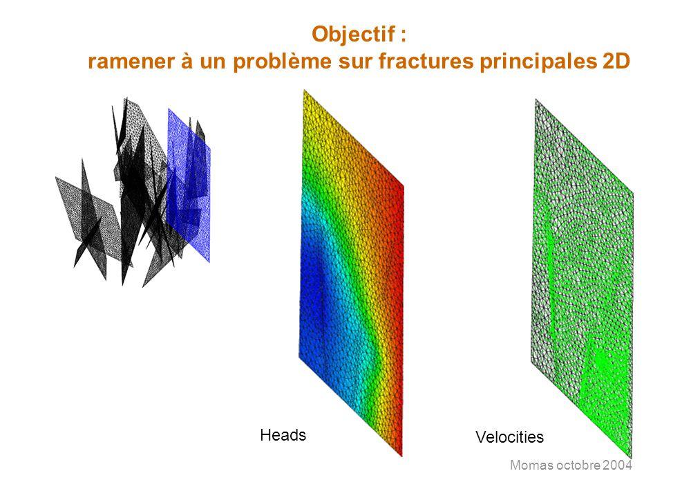 Momas octobre 2004 Objectif : ramener à un problème sur fractures principales 2D Heads Velocities