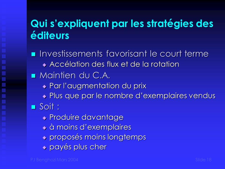 PJ Benghozi Mars 2004Slide 18 Qui sexpliquent par les stratégies des éditeurs Investissements favorisant le court terme Investissements favorisant le court terme Accélation des flux et de la rotation Accélation des flux et de la rotation Maintien du C.A.