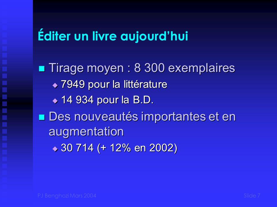 PJ Benghozi Mars 2004Slide 7 Éditer un livre aujourdhui Tirage moyen : 8 300 exemplaires Tirage moyen : 8 300 exemplaires 7949 pour la littérature 7949 pour la littérature 14 934 pour la B.D.