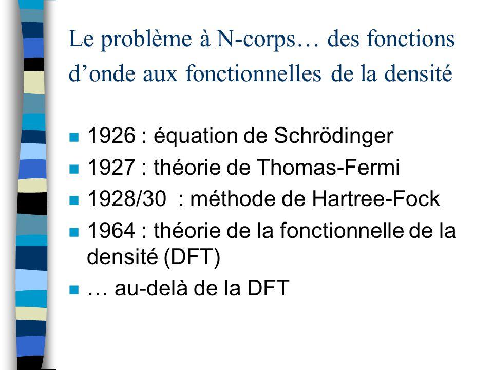 Le problème à N-corps… des fonctions donde aux fonctionnelles de la densité n 1926 : équation de Schrödinger n 1927 : théorie de Thomas-Fermi n 1928/3