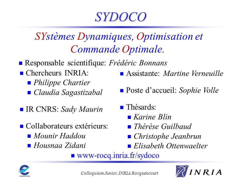 Colloquium Junior, INRIA Rocquencourt SYDOCO SYstèmes Dynamiques, Optimisation et Commande Optimale. Chercheurs INRIA: Philippe Chartier Claudia Sagas