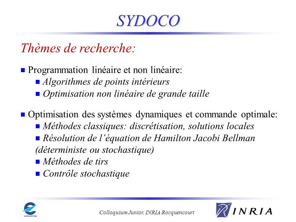 Colloquium Junior, INRIA Rocquencourt SYDOCO Thèmes de recherche: Programmation linéaire et non linéaire: Algorithmes de points intérieurs Optimisatio