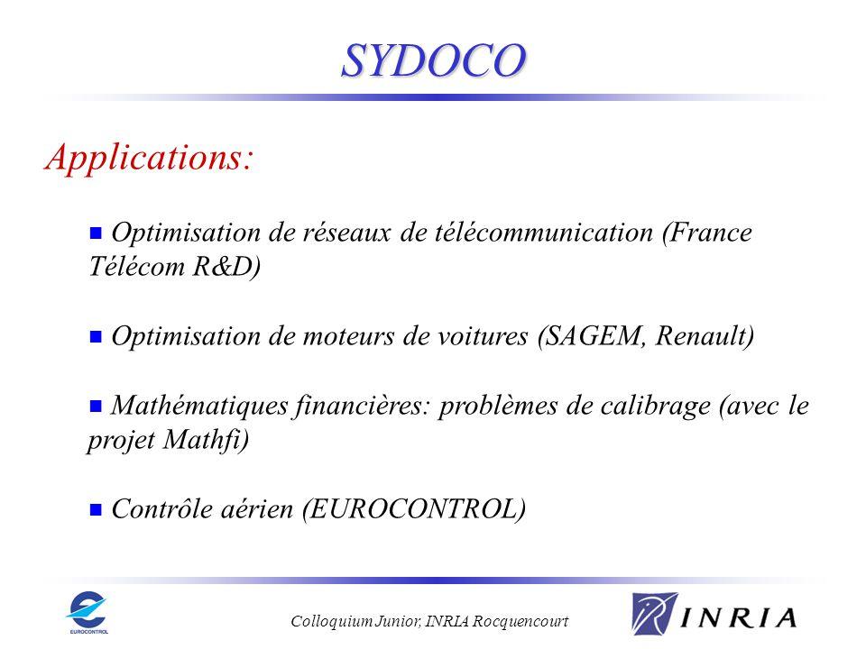 Colloquium Junior, INRIA Rocquencourt SYDOCO Applications: Optimisation de réseaux de télécommunication (France Télécom R&D) Optimisation de moteurs d