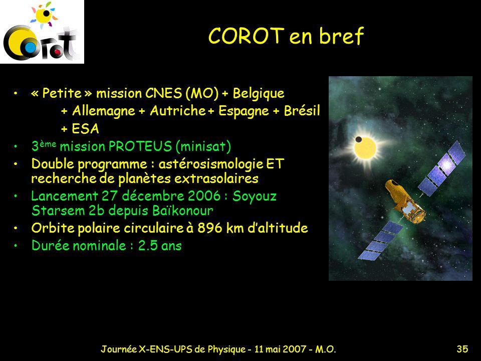 35Journée X-ENS-UPS de Physique - 11 mai 2007 - M.O. COROT en bref « Petite » mission CNES (MO) + Belgique + Allemagne + Autriche + Espagne + Brésil +