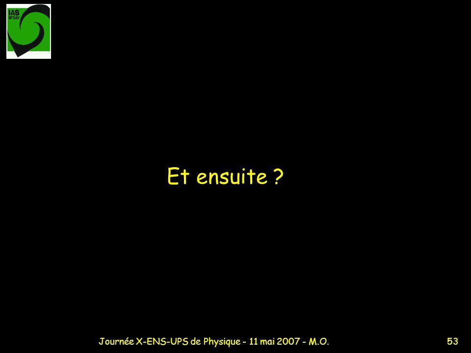 53Journée X-ENS-UPS de Physique - 11 mai 2007 - M.O. Et ensuite ?