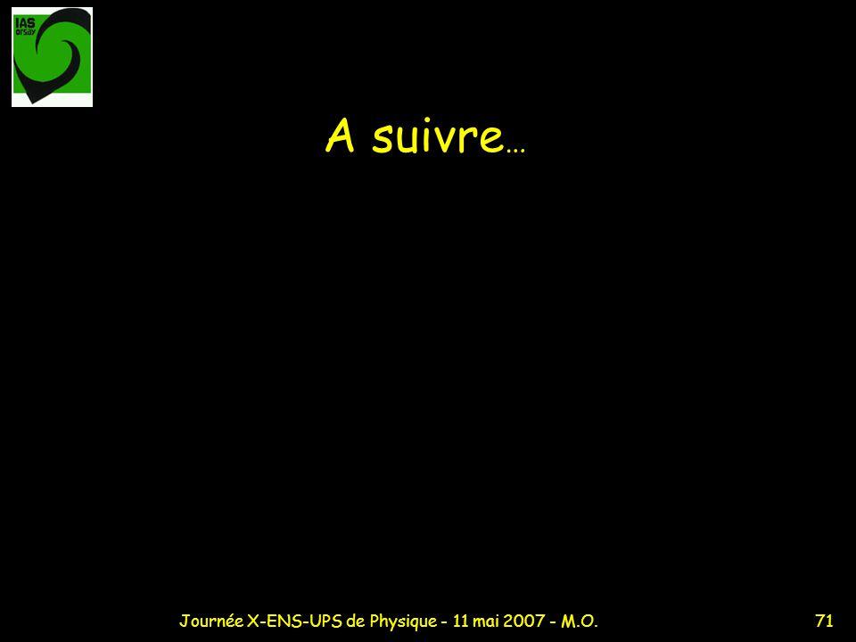 71Journée X-ENS-UPS de Physique - 11 mai 2007 - M.O. A suivre …